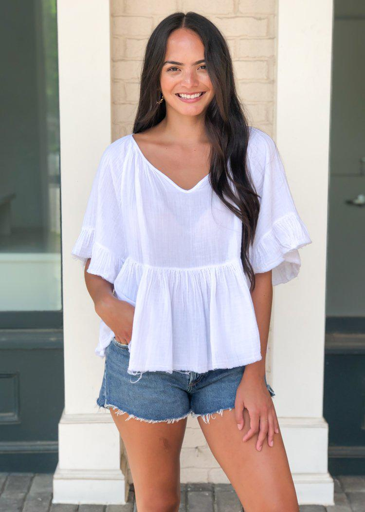 Stark X Frayed Hem Babydoll Short Sleeve Ruffled Top - White-Hand In Pocket