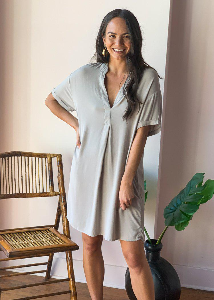 Bobi V-neck Short Sleeve Tunic Dress - Tan-Hand In Pocket