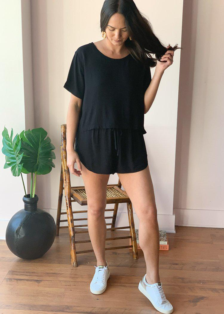 Bobi Short Sleeve Cropped Crepe Tee - Black-Hand In Pocket