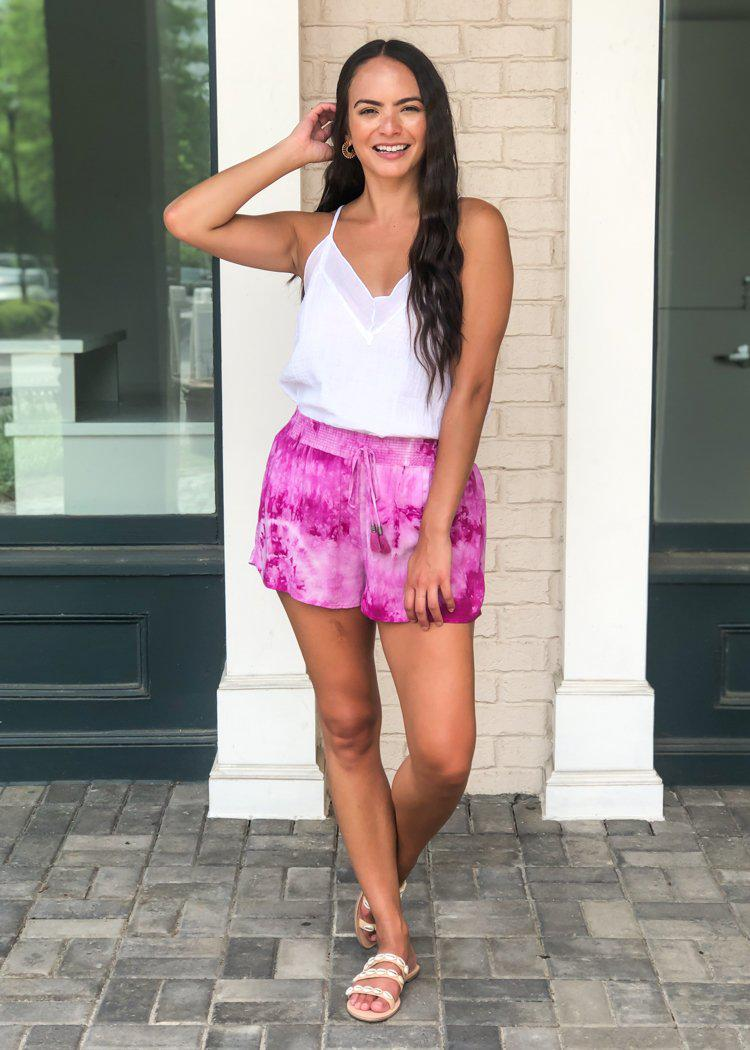 Cape Town Tie Dye Track Shorts- Fuschia-Hand In Pocket