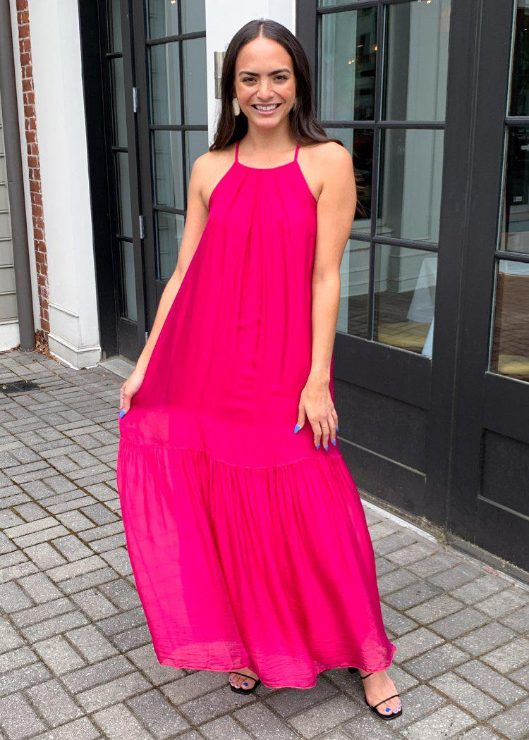 FRNCH Atika High Neck Halter Maxi Dress - Fuchsia-Hand In Pocket
