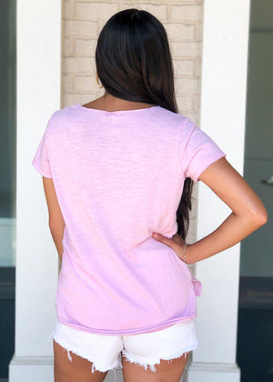 Z Supply Airy Slub V Neck Tee-Lavender-Hand In Pocket