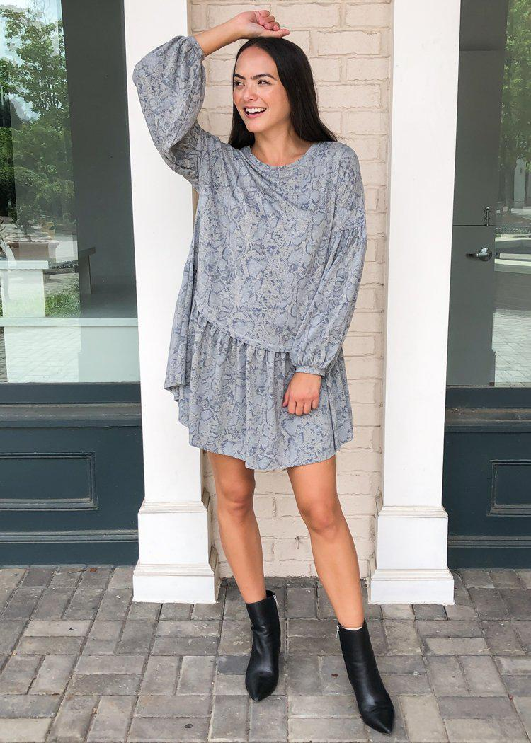 Karlie Franklin Snake Print Drop Waist Sweatshirt Dress-Hand In Pocket