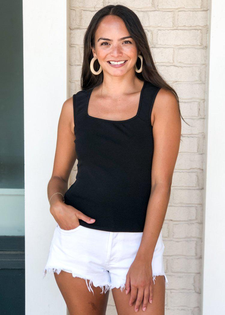 Carmen Square Neck Sleeveless Top - Black-Hand In Pocket