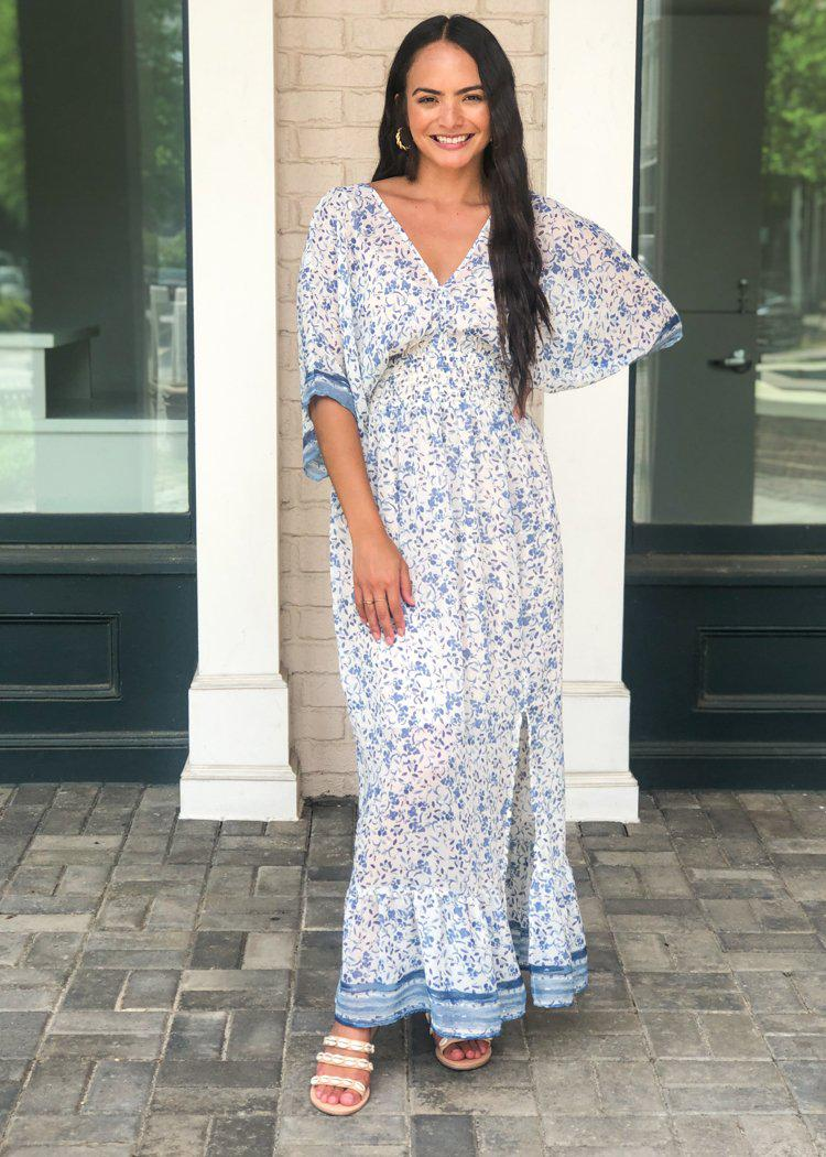 Amelia Island Floral Print Maxi Dress-Hand In Pocket