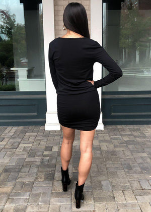 Bobi Long Sleeve Side Ruched Dress-Black-Hand In Pocket