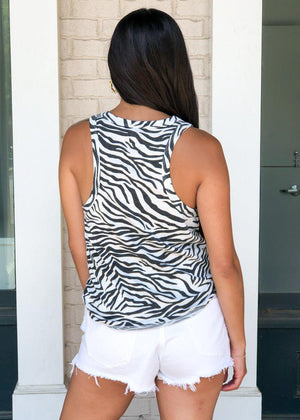 Z Supply Zebra Print Racerback Tank-Hand In Pocket