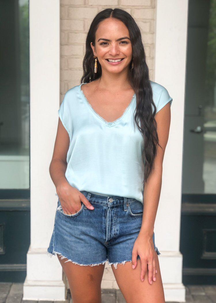 Seychelles Satin Tee- Pale Blue-Hand In Pocket