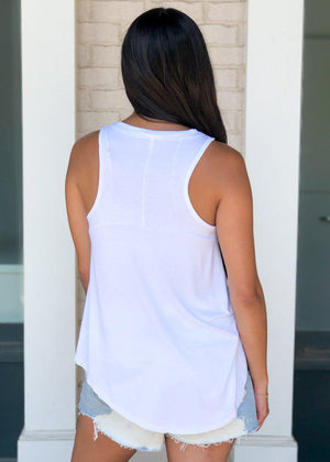 Z Supply Washed Vagabond Tank - White-Hand In Pocket