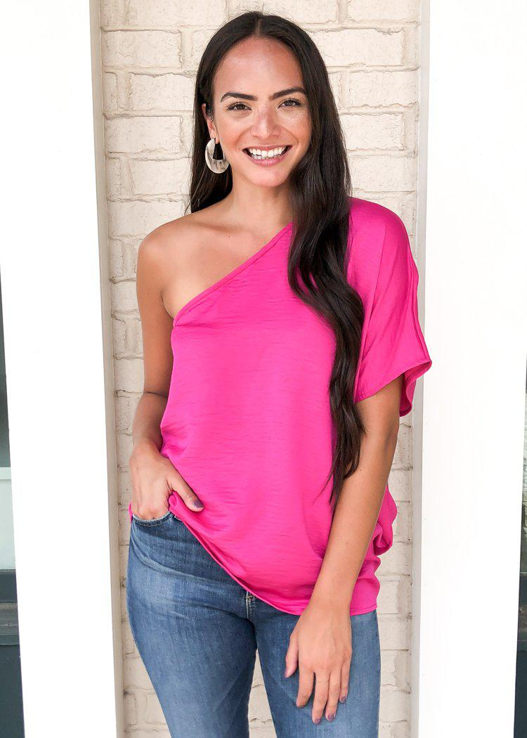 Teagan One Shoulder Blouse - Fuschia-Hand In Pocket