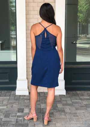 Adelyn Rae Grayson Strappy Split Skirt Cocktail Dress - Blue ***FINAL SALE***-Hand In Pocket