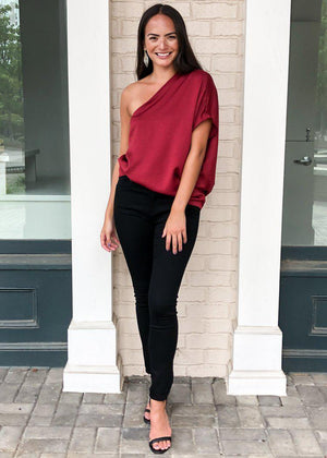 Teagan One Shoulder Blouse - Burgundy-Hand In Pocket