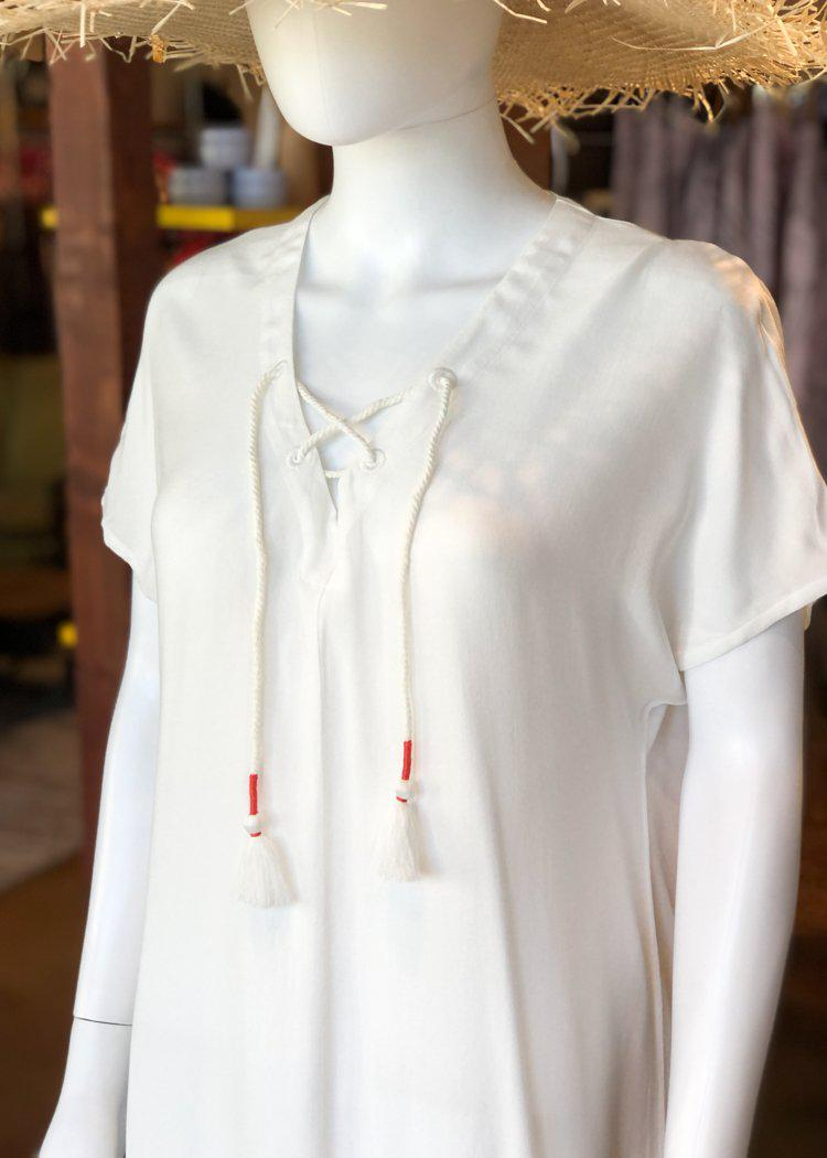 Bobi V-neck Lace Up Short Sleeve Tunic Dress - Ivory-Hand In Pocket