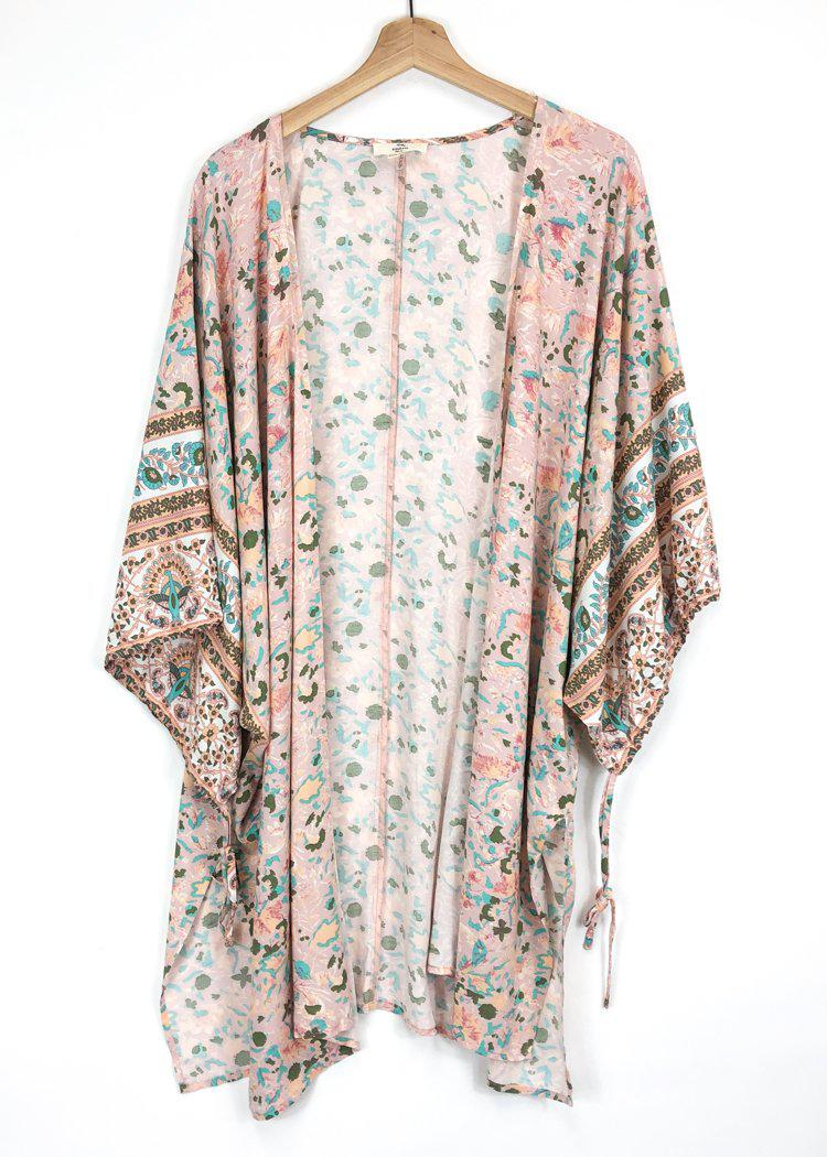 Sierra Printed Open Front Kimono - Blush-Hand In Pocket