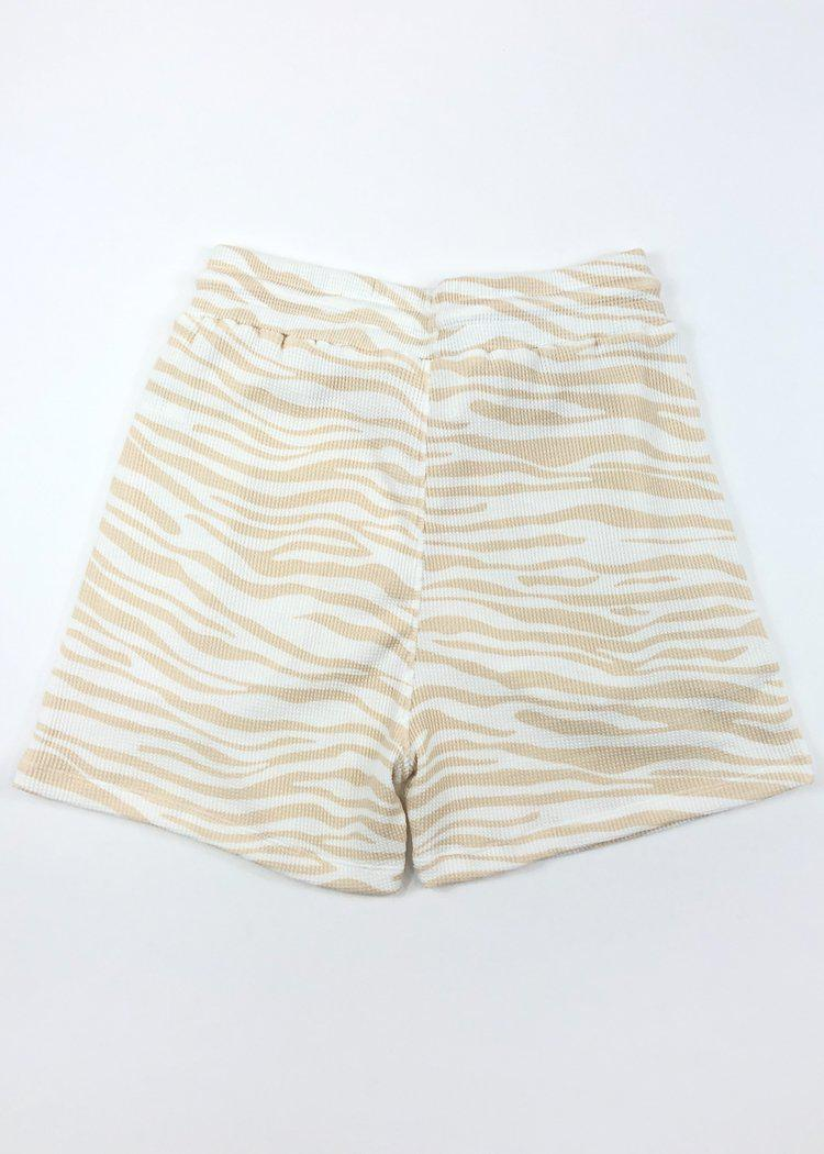 RD Style Tiger Stripe Drawstring Short - Beige/White-Hand In Pocket