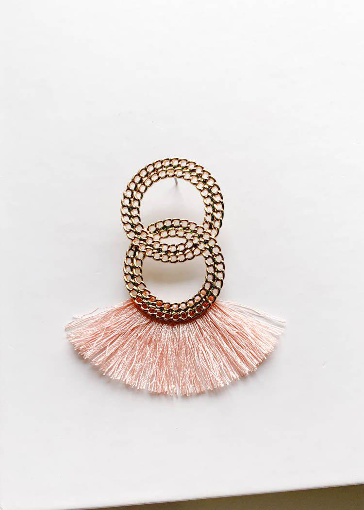 Basin Double Circle Fringe Drop - Pink-Hand In Pocket