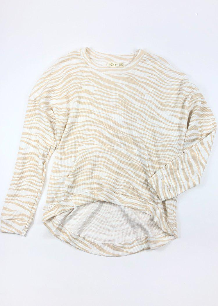 RD Style Tiger Stripe Long Sleeve Pullover - Beige/White-Hand In Pocket