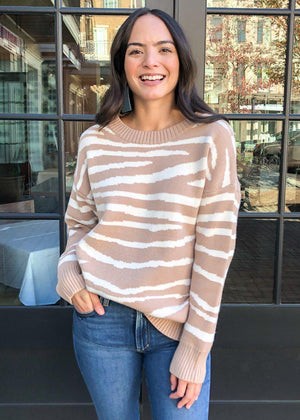 Pacaya Neutral Zebra Stripe Pullover - Ivory/Taupe-Hand In Pocket