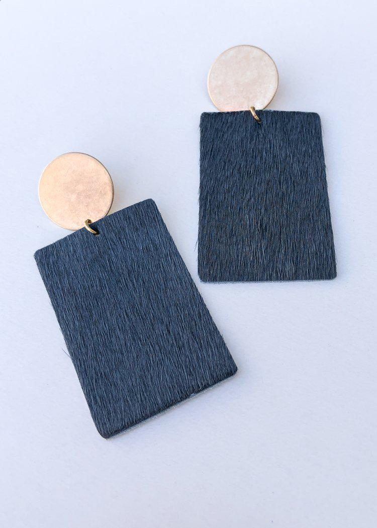 Sheridan Cowhide Leather Drop Earrings - Grey-Hand In Pocket