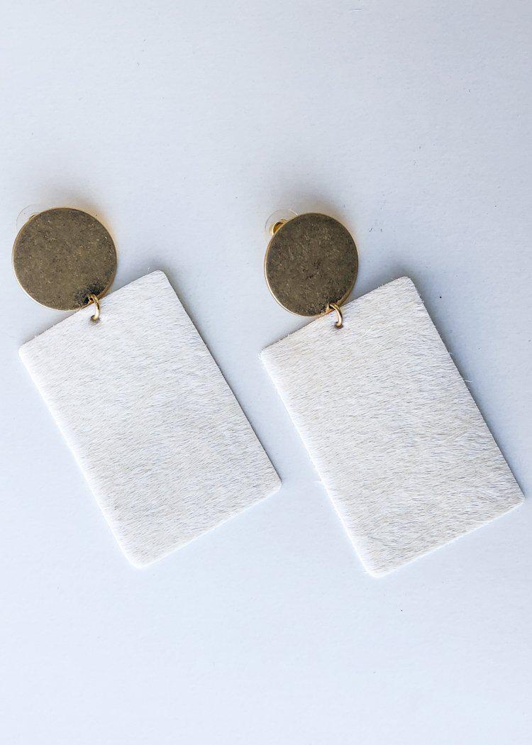Sheridan Cowhide Leather Drop Earrings - Ivory-Hand In Pocket