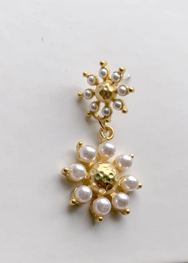 Fraser Double Floral Pearl Drop Earring - Gold/Cream-Hand In Pocket
