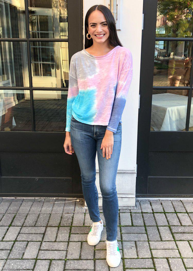Chaser Tie Dye Print Raw Edge Long Sleeve Tee-Hand In Pocket