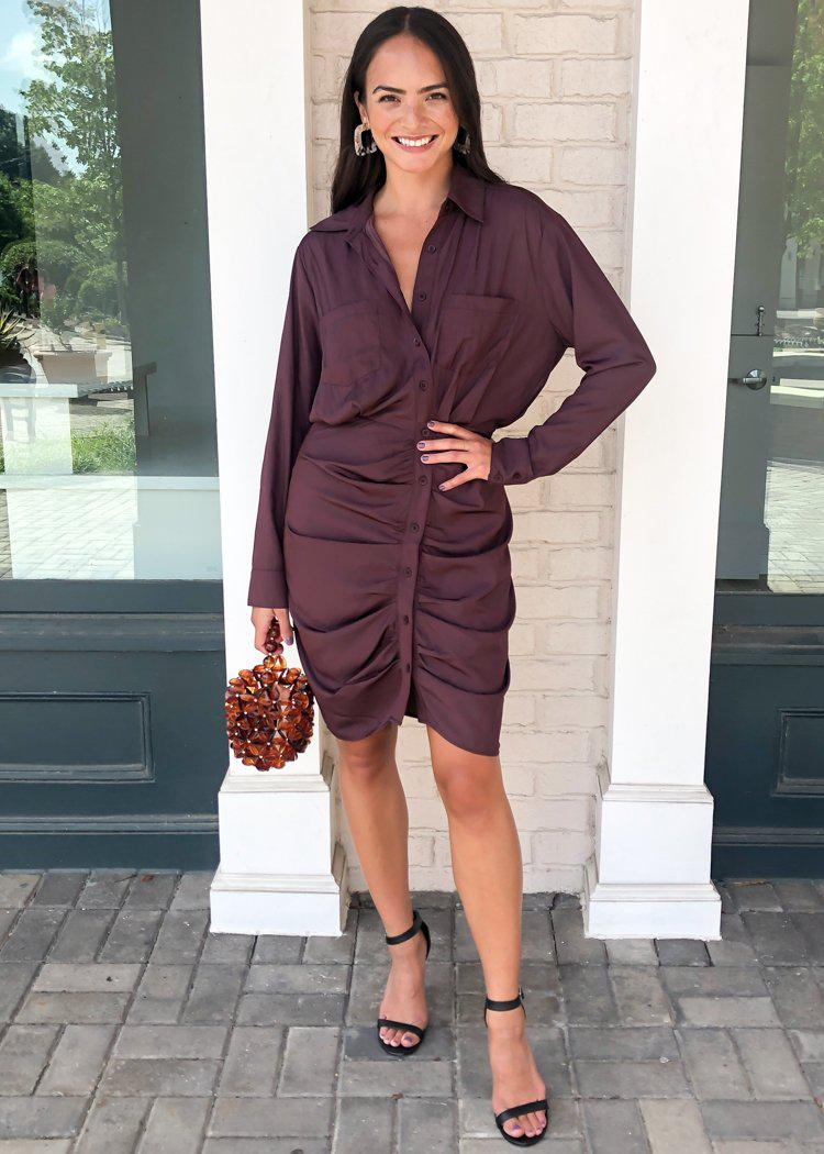 Cicely Long Sleeve Ruched Shirtdress-Hand In Pocket