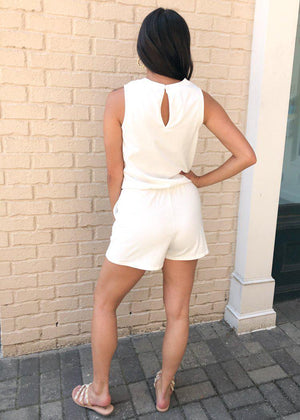 Z Supply Adira Cotton Romper-Desert White-Hand In Pocket