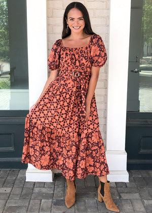 Sangria Tiered Puff Sleeve Maxi Dress-Hand In Pocket