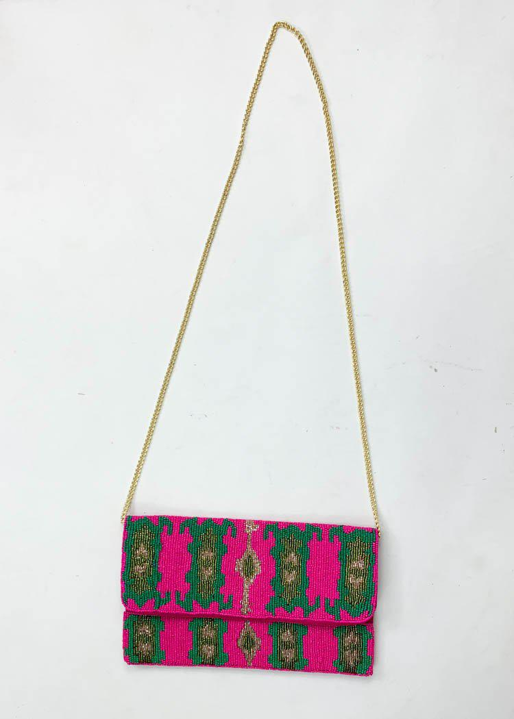 Flores Beaded Clutch-Hand In Pocket