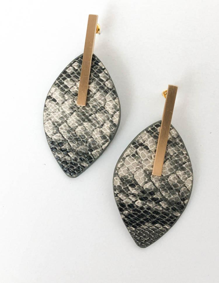 Viboras Snakeprint Faux Leather Drop Earrings - Grey-Hand In Pocket