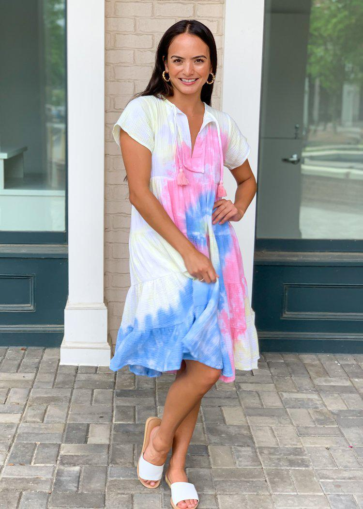 "Karlie ""Sorbet"" Tie Dye Tiered Midi Dress-Hand In Pocket"
