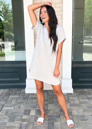 Stark X Split Neck Short Sleeve Shirtdress-Hand In Pocket