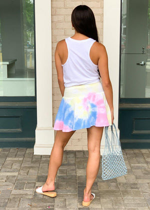 Karlie ROY G BIV Rainbow Tie Dye Smocked Waist Skort-Hand In Pocket