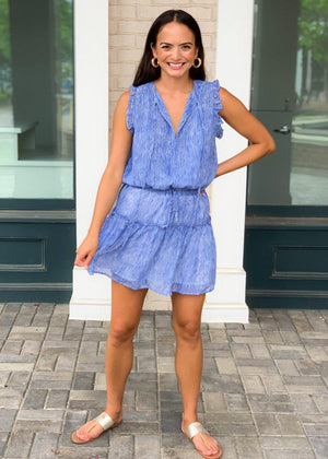 Pinch Alys Wavy Stripe Dress -Blue-Hand In Pocket