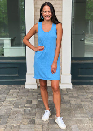 Bobi Scoop Neck Slub Cotton Tank Dress-Blue-Hand In Pocket