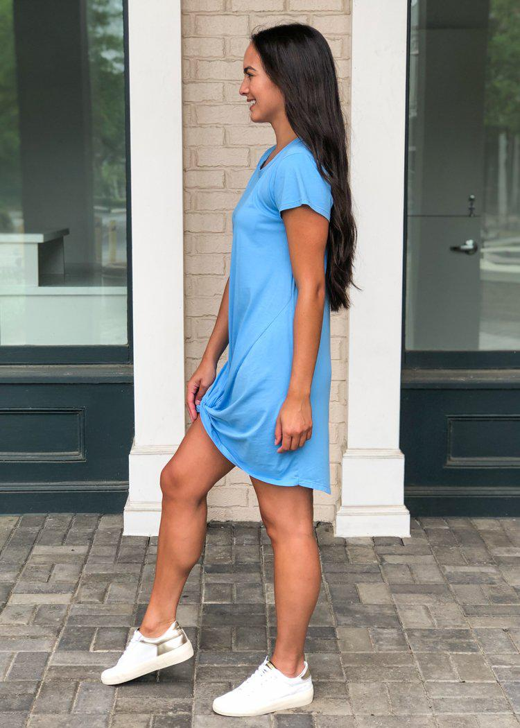 Bobi Knot Front Scoop Neck Tee Dress-Hand In Pocket