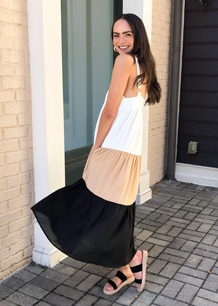 Mia Colorblock Tiered Maxi Dress- Black-Hand In Pocket