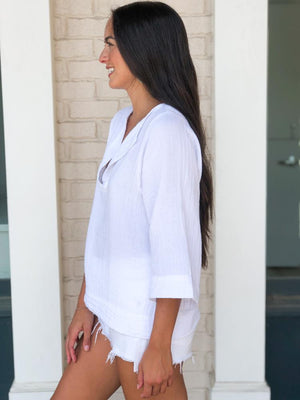 Stark X Gauzy Split V Neck Blouse- White-Hand In Pocket