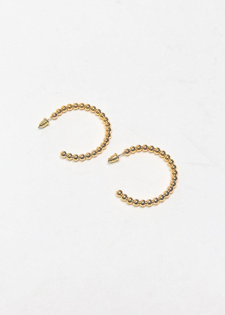 BRACHA Roma Large Ball Hoops -Gold-Hand In Pocket
