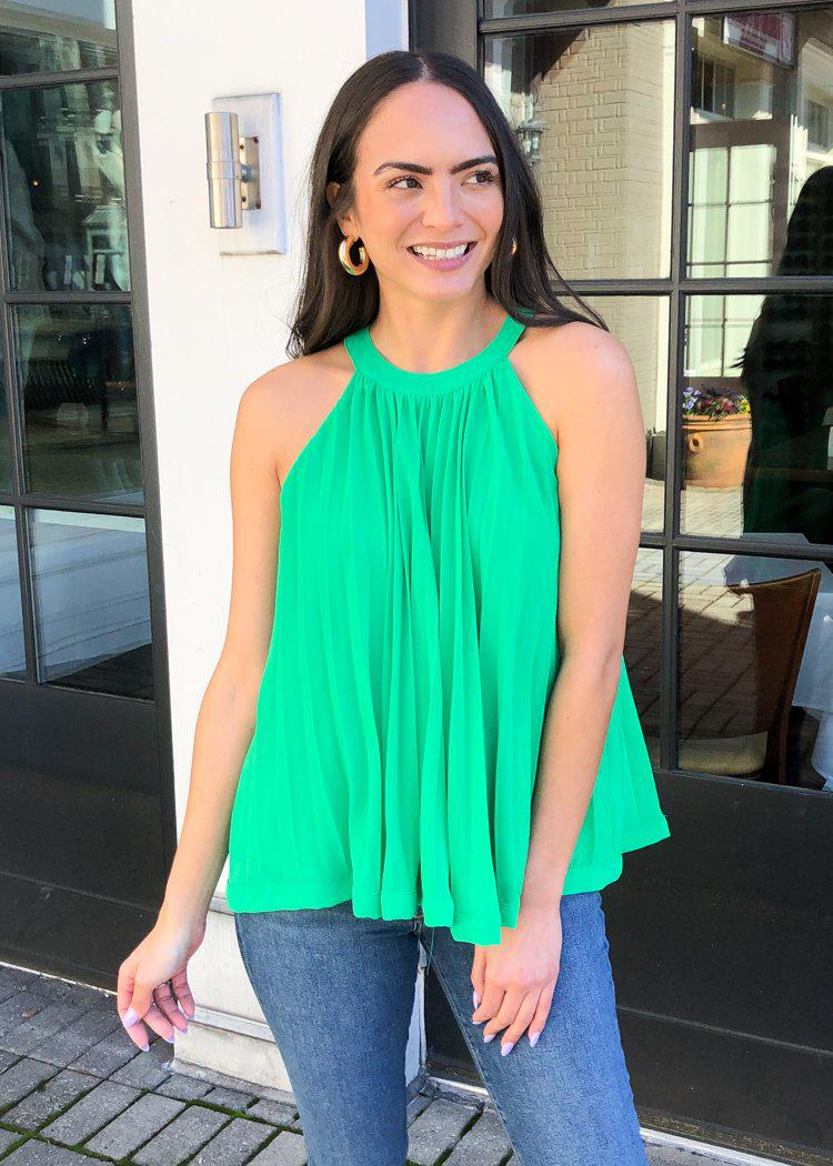 THML Mendoza Pleated Sleeveless Halter Top - Green-Hand In Pocket