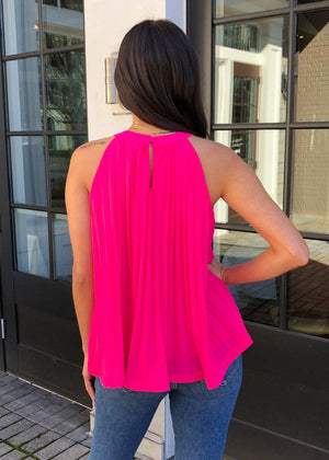 THML Mendoza Pleated Sleeveless Halter Top - Hot Pink-Hand In Pocket