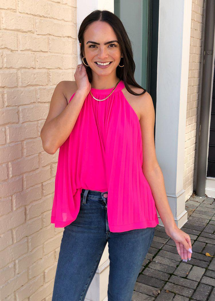Copy of THML Mendoza Pleated Sleeveless Halter Top - Hot Pink-Hand In Pocket