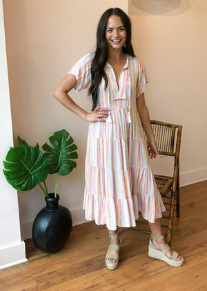 Karlie West Lane Striped Tiered Maxi Dress-Hand In Pocket