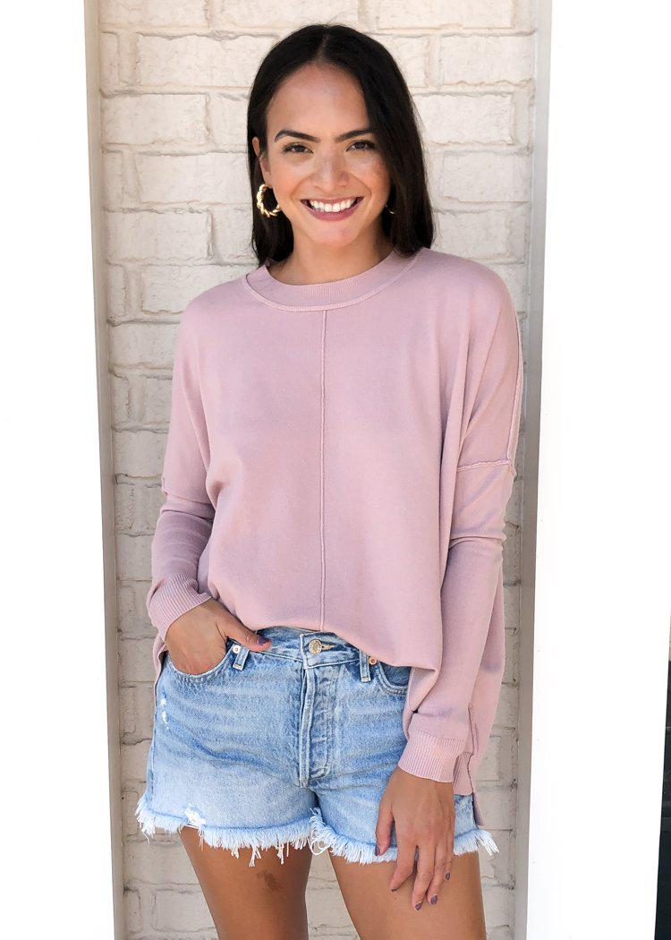 Karlie Boxy Crew Neck Sweater - Mauve-Hand In Pocket