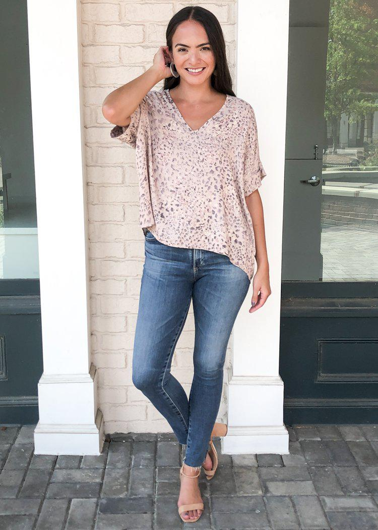 "Karlie ""Sabi"" Leopard Print Essential V Neck Blouse-Hand In Pocket"