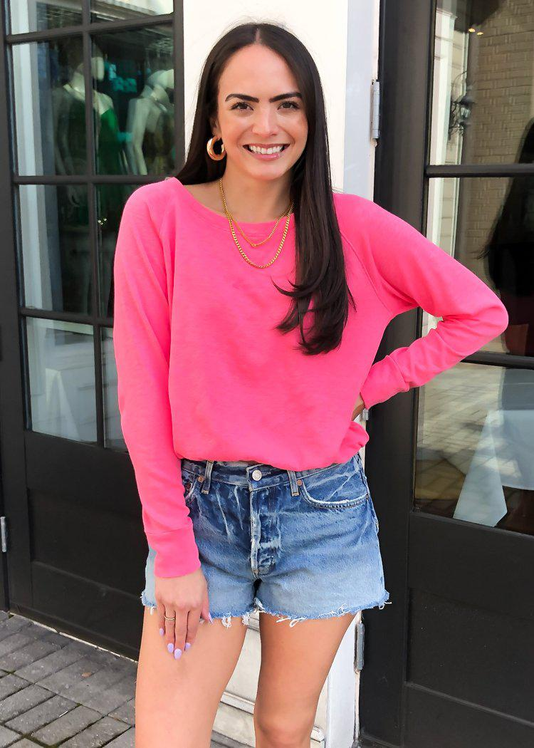 Bobi Hot Pink Cinch Waist Pullover-Hand In Pocket