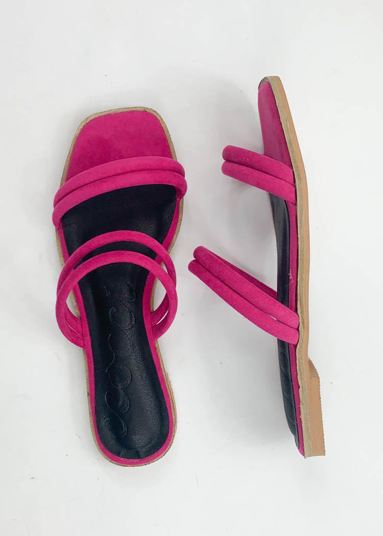 Sugar Square Toe Sandal- Fuschia-Hand In Pocket