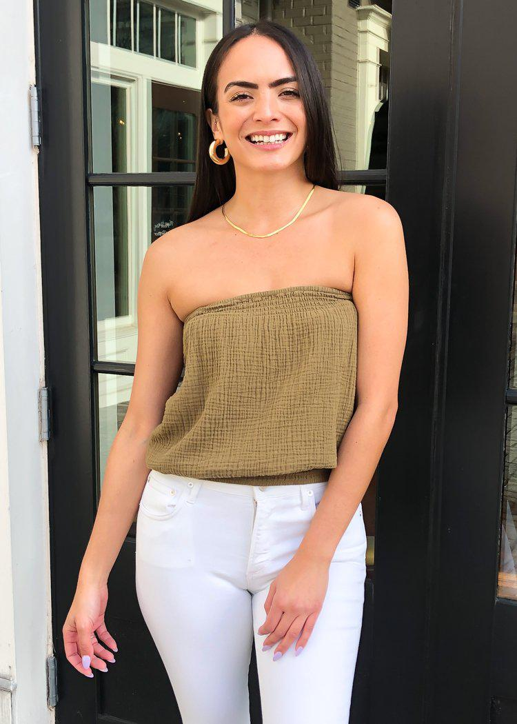 Bobi Gauze Tube Top - Grenade-Hand In Pocket