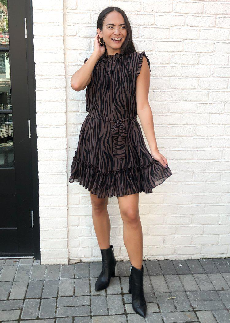 Karlie Moremi Zebra Print Mini Dress-Hand In Pocket